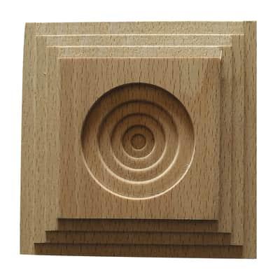 Fregio piramide in faggio grezzo 100 x 100 x 10 mm