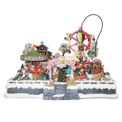 Villaggio di natale animato con Luna Park