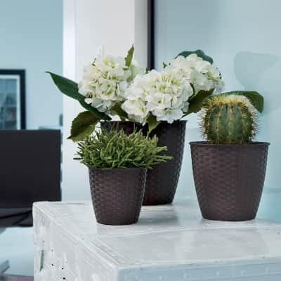 Vaso Natural STEFANPLAST in plastica colore Marrone H 26.5 cm, L 29 x Ø 29 cm