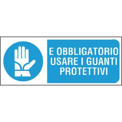 Cartello segnaletico Obbligo guanti pvc 31 x 14 cm