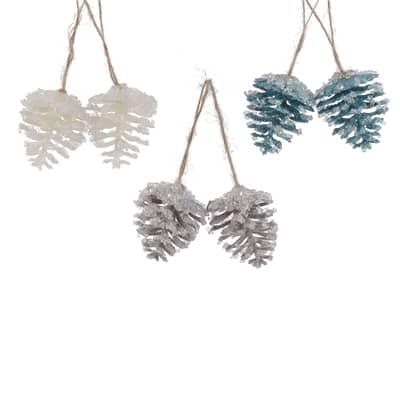 Coppia di pigne 3 colori assortiti bianco, grigio e blu