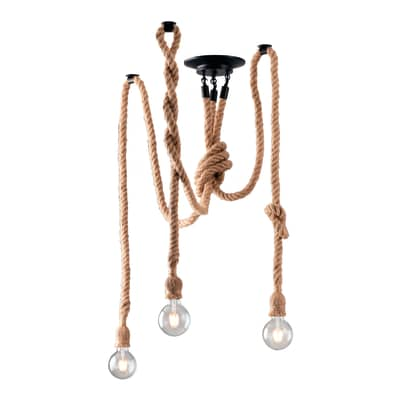 Lampadario Industriale Rope marrone in ferro, D. 8 cm, 3 luci, FAN EUROPE