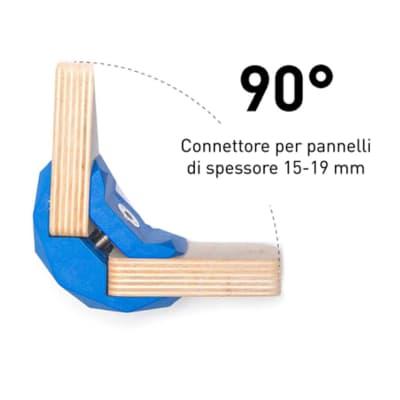 Sistema di assemblaggio playwood 90° pvc  4 pezzi , blu