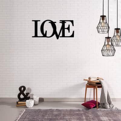 Decorazione da parete Metal Love Nero 50x20 cm