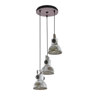 Lampadario Industriale BARNSTAPLE nero, marrone patinato in metallo, D. 27 cm, 3 luci, EGLO