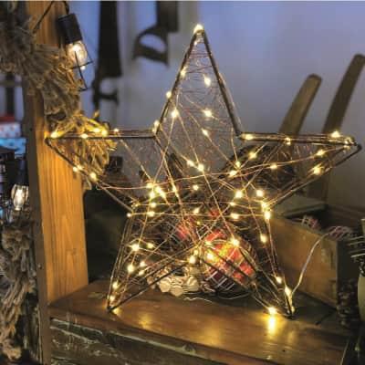 Stella luminosa 80 lampadine bianco caldo H 40 cm