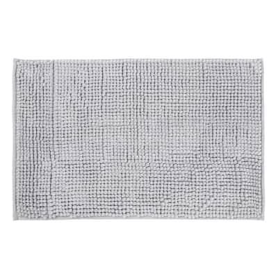 Tappeto bagno rettangolare Easy in ciniglia grigio 60 x 40 cm