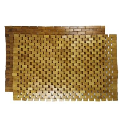 Tappeto bagno rettangolare Domino in bambù marrone 80 x 50 cm