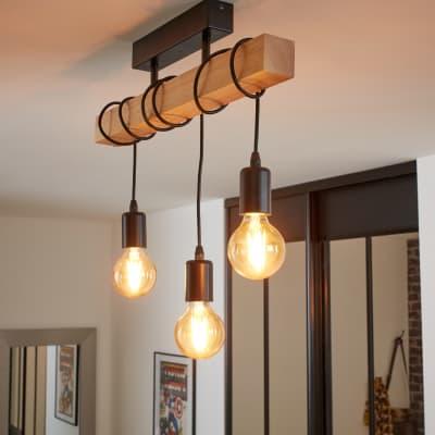 Lampadario Industriale Townshend nero in legno, 3 luci, EGLO