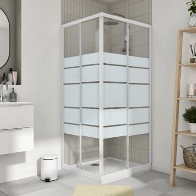 Box doccia rettangolare scorrevole Essential 90 x 80 cm, H 185 cm in vetro temprato, spessore 4 mm serigrafato bianco