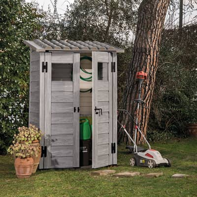 Casetta da giardino in pvc Garofalo Tuscany Woody,  superficie interna 0.88 m² e spessore parete 20 mm