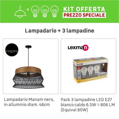 Lampadario Bohème KIT+1 PACK 3 LAMPADINE Manam marrone/nero, in metallo, D. 46 cm, INSPIRE