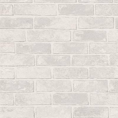 Carta da parati Mattoni bianco e grigio
