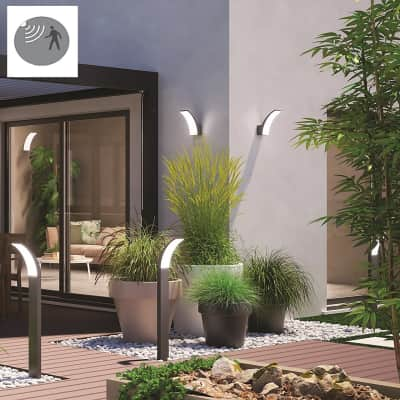 Applique Lakko LED integrato con sensore di movimento, in alluminio, grigio, 11W 1500LM IP44 INSPIRE