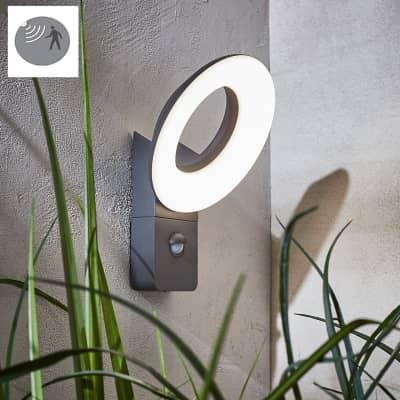 Applique Quito LED integrato con sensore di movimento, in alluminio, grigio, 16W 1100LM IP54 INSPIRE