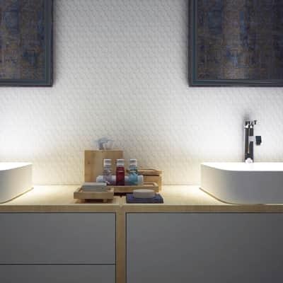 Mosaico Esagona Bianca H 30 x L 30 cm bianco