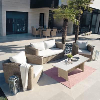 Set tavolo e sedie Costarica in rattan sintetico beige e marrone 4 posti