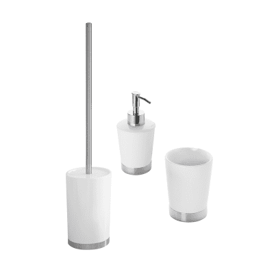 Accessori Per Bagno In Ceramica.Set Di Accessori Per Bagno Petunia Bianco E Argento In Ceramica 3 Pezzi Prezzo Online Leroy Merlin