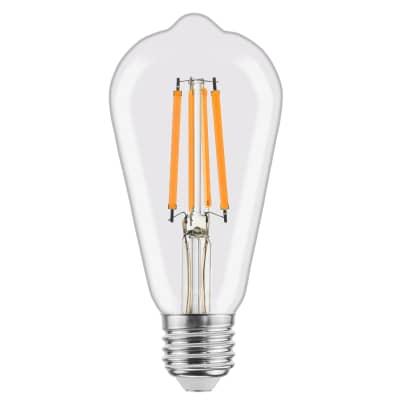 Lampadina LED filamento, E27, Goccia, Trasparente, Luce naturale, 8W=1055LM (equiv 75 W), 360° , LEXMAN