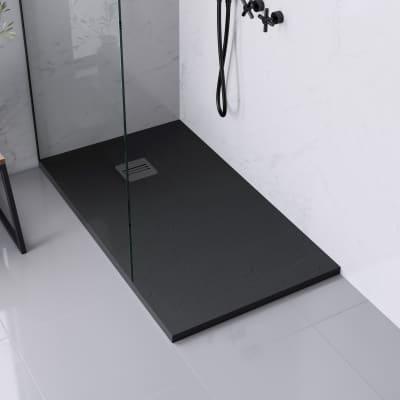 Piatto doccia ultrasottile resina sintetica e polvere di marmo Remix 70 x 120 cm nero