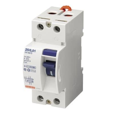 Interruttore differenziale puro GEWISS GWD4617 2 poli 25A 6kA 30mA AC 2 moduli 230V
