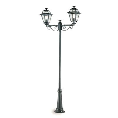 Palo della luce Elegance H250cm in alluminio, grigio, E27 2xMAX100WW IP43