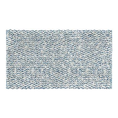 Tappeto bagno rettangolare Speed in cotone azzurro 55 x 100 cm
