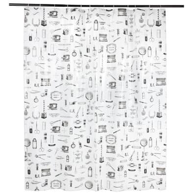 Tenda doccia Barber in poliestere bianco L 180.0 x H 200.0 cm