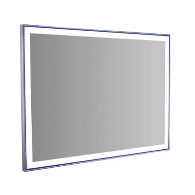 Specchio con illuminazione integrata bagno rettangolare Quadra Led L 80 x H 60 cm