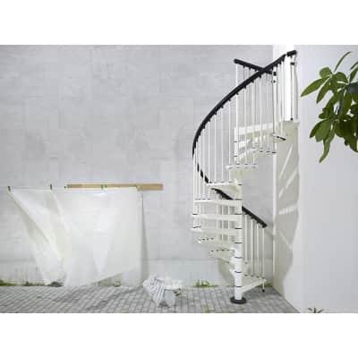 Scala a chiocciola tonda Lucia FONTANOT L 160 cm, gradino bianco, struttura bianco