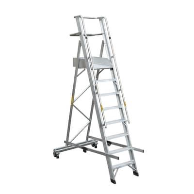 Scala a castello GIERRE Serie 7 Professional in alluminio 8 gradini per lavori fino a 4.1 m