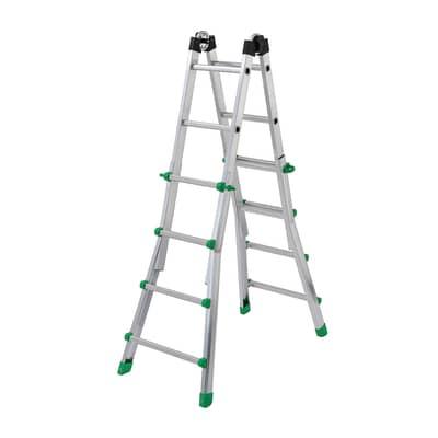 Scala telescopica GIERRE Serie 5 2 rampe in alluminio 4+4 gradini per lavori fino a 4.7 m