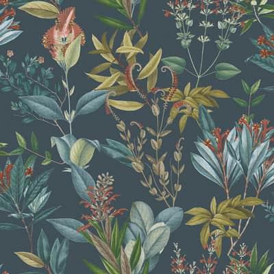 Carta da parati Blooming Summer blue, 53 cm x 10.05 m