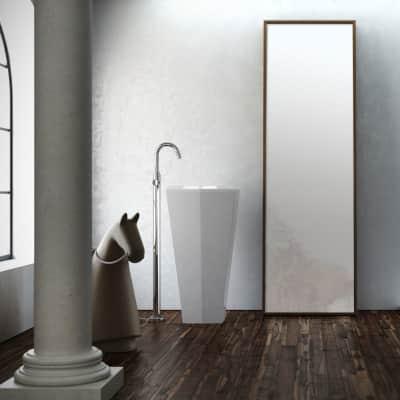 Lavabo Centro Stanza quadrata L 45 x P 45 cm in pietra artificiale bianco