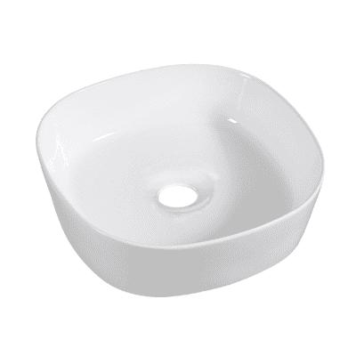Lavabo da appoggio quadrato Manu in ceramica L 46 x P 46 x H 14 cm bianco