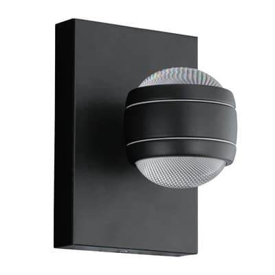 Applique Sesimba LED integrato in acciaio inossidabile, nero, 3.7W 559LM IP44 EGLO
