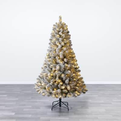 Albero di natale artificiale Albero di Natale innevato con luci verde scuro brinato H 180 cm, 250 lampadine incorporate
