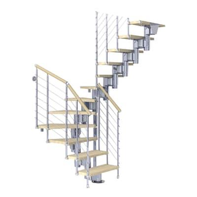 Scala a rampa due quarti di giro Long Tube FONTANOT L 90 cm, gradino faggio naturale, struttura cromato