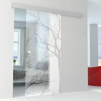 Porta scorrevole con binario esterno Autumn in vetro Kit Alu L 96 x H 215 cm