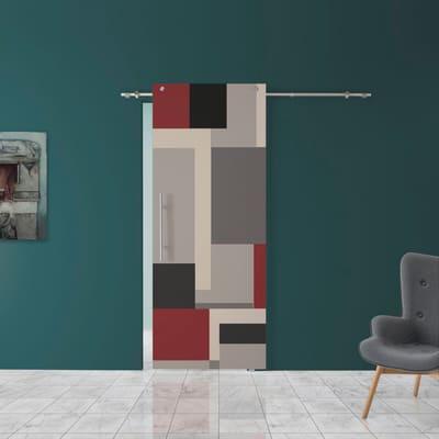 Porta scorrevole con binario esterno Carpet 1 in vetro Kit B L 88 x H 220 cm dx
