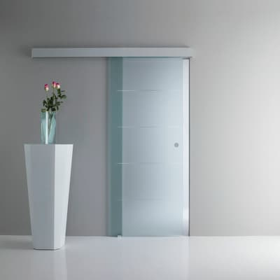 Porta scorrevole con binario esterno Pegaso in vetro Kit A L 96 x H 215 cm