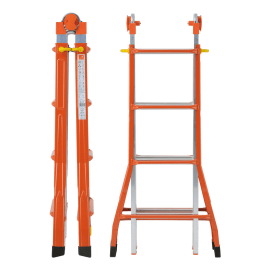 Scala telescopica acciaio e alluminio Gierre 4+4 gradini, per lavori fino a 4,7 m
