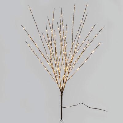 Ramo Marrone luminoso 220 minilucciole Led classica gialla H 100 cm