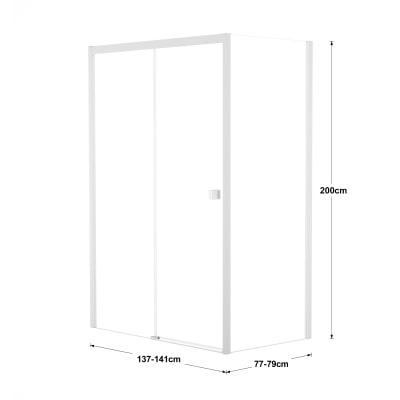 Doccia con porta scorrevole e lato fisso Neo 137 - 141 x 77 - 79 cm, H 200 cm vetro temperato 6 mm trasparente/bianco opaco