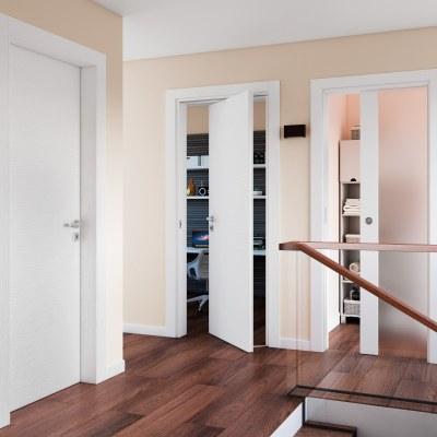 Porta da interno battente Plaza Vetro frassino bianco 70 x H 210 cm sx