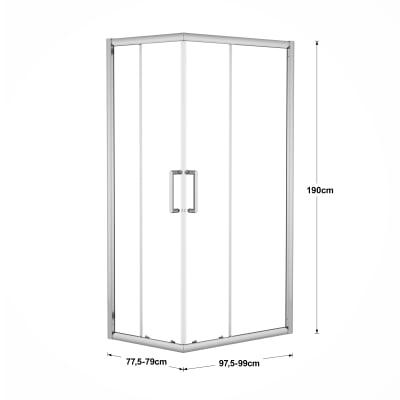 Box doccia scorrevole Quad 77.5-79 x 97,5-99, H 190 cm cristallo 6 mm trasparente/silver