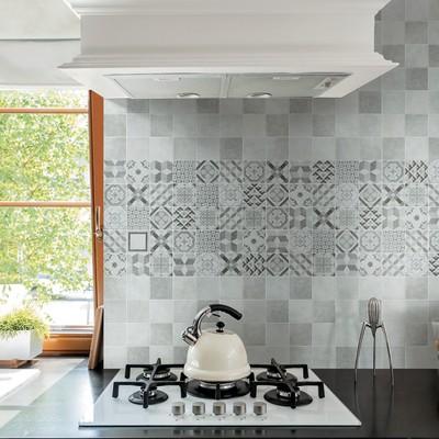 Piastrella Cement 10 x 10 cm nero, argento