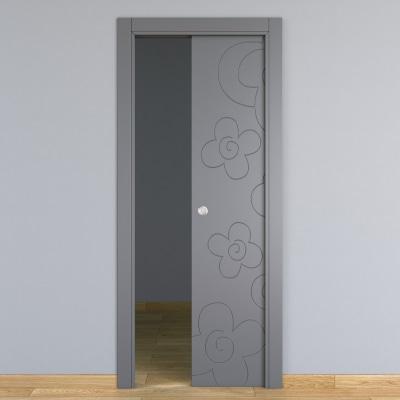 Porta da interno scorrevole Flower ash cenere 80 x H 210 cm reversibile