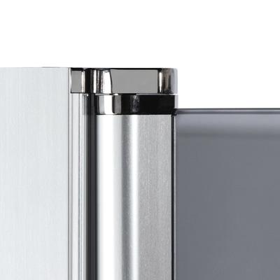 Doccia con porta battente e lato fisso Neo 97 - 99 x 77 - 79 cm, H 200 cm vetro temperato 6 mm serigrafato/cromo PVD