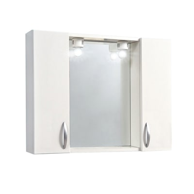 Armadietto a specchio Sole L 77 x H 57 x P  15 cm bianco lucido